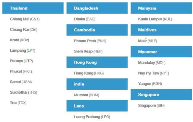 Bangkok airways destinos