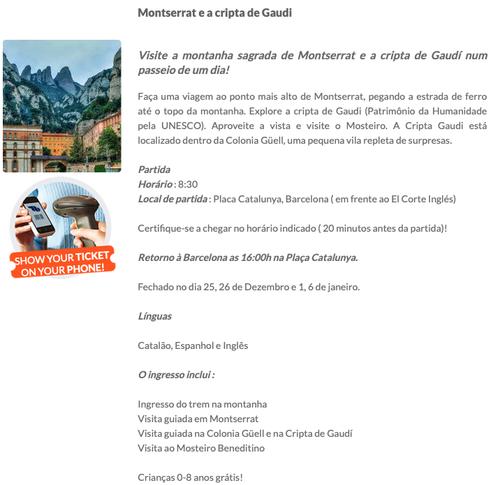 Excursão para Montserrat