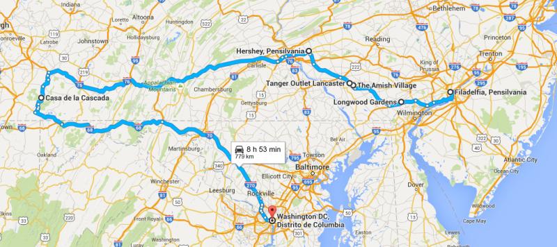 Roteiro de carro pelos Estados Unidos da Pensilvania a Washington DC